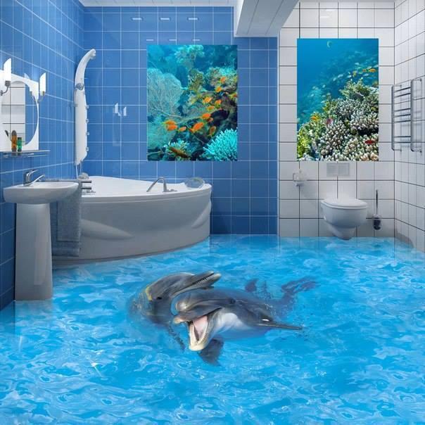revêtement-sol-résine-aspect-3D-dauphins