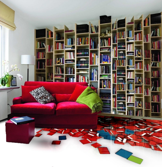 revêtement-sol-résine-aspect-3D-livre-bibliothèque