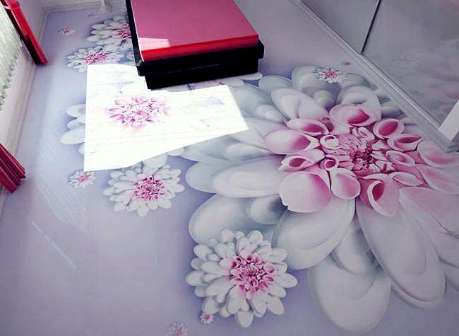 Merveilleux Revêtement Sol Résine Aspect 3D Fleurs