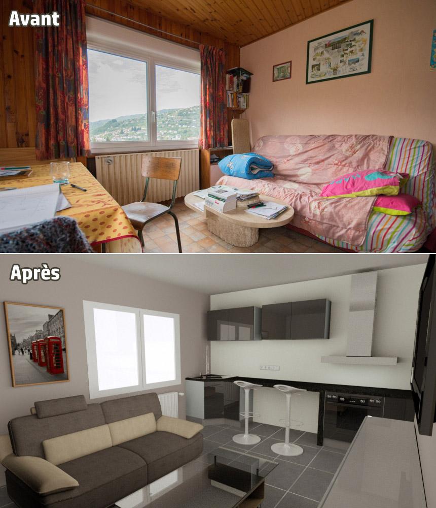 Home Staging Photos Avant Après le home staging virtuel ou simulation de travaux 3d