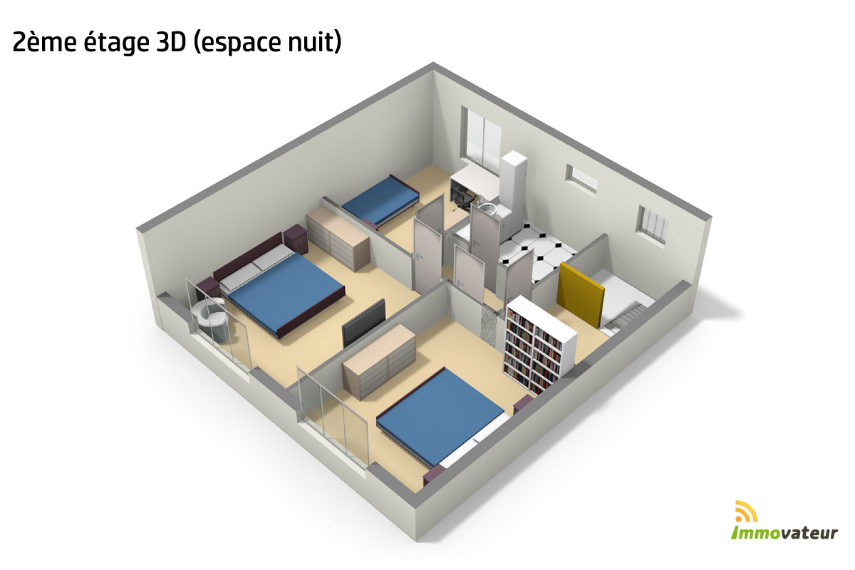Plan 3d chambre cheap chambres a coucher moderne for Chambre 3d